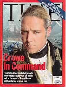 Russell Crowe autographed Master and Commander movie 2003 Time magazine (JSA)