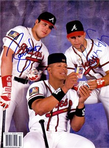 Ryan Klesko & Javy Lopez autographed Atlanta Braves Beckett back cover photo