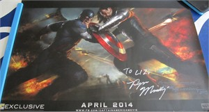 Ryan Meinerding autographed Captain America 2013 Comic-Con exclusive movie poster (To Liz)