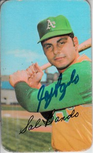 Sal Bando autographed Oakland A's 1971 Topps Super card