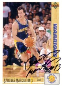 Sarunas Marciulionis autographed Golden State Warriors 1991-92 Upper Deck card
