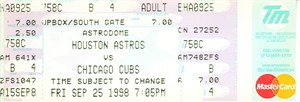 Sammy Sosa Home Run #66 Chicago Cubs 1998 full unused ticket