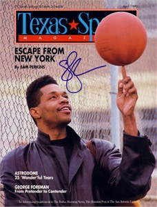 Sam Perkins autographed 1990 Texas Sports magazine cover