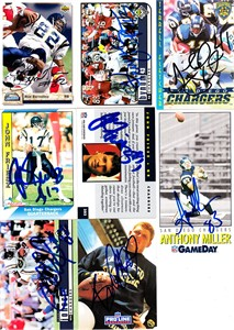 8 San Diego Chargers autographed cards (Rod Bernstine Anthony Miller)