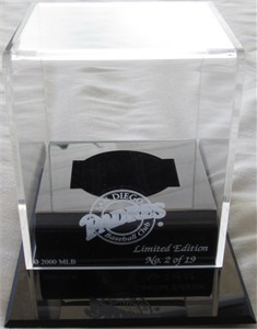 Baseball acrylic display case with etched San Diego Padres logo