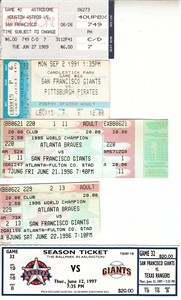 San Francisco Giants lot of 5 vintage game tickets