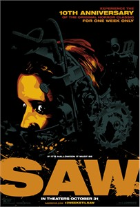 SAW 10th Anniversary Halloween 2014 re-release mini 13x20 movie poster (black & orange)