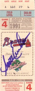 Scott Erickson autographed 1991 World Series Game 4 ticket stub