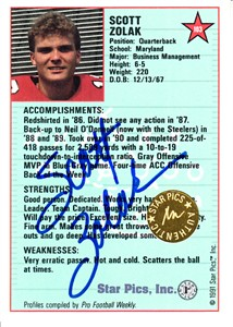 Scott Zolak Maryland Terrapins 1991 Star Pics certified autograph card
