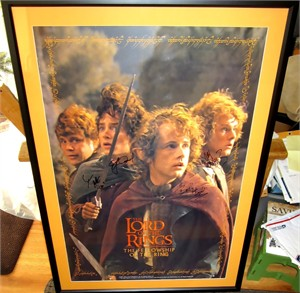 Sean Astin Billy Boyd Dominic Monaghan Elijah Wood autographed Lord of the Rings full size movie poster matted & framed