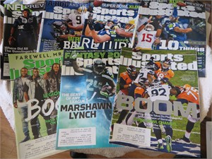 Seattle Seahawks collection of 7 Sports Illustrated issues (Marshawn Lynch Richard Sherman Russell Wilson)