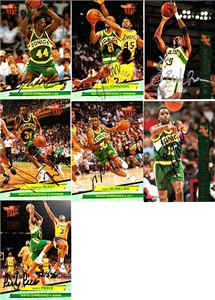 7 Seattle Supersonics autographed 1990s cards (Michael Cage Derrick McKey Nate McMillan Ricky Pierce)