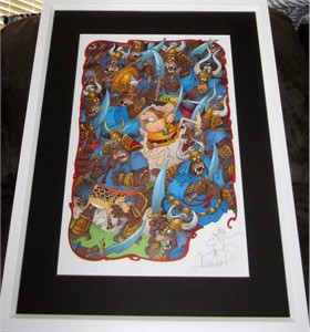 Sergio Aragones autographed Groo fighting apes 11x17 lithograph with sketch matted & framed