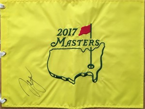 Sergio Garcia autographed 2017 Masters golf pin flag