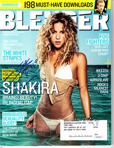 Shakira autographed July 2005 Blender magazine with sexy bikini cover (JSA)