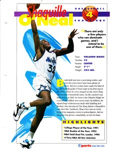 Shaquille O'Neal Orlando Magic 1994 Sports Heroes album page