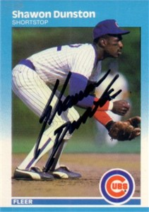 Shawon Dunston autographed Chicago Cubs 1987 Fleer card
