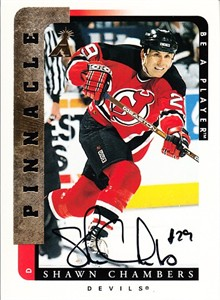 Shawn Chambers New Jersey Devils certified autograph 1996-97 Pinnacle Be A Player card