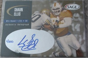 Shaun Ellis certified autograph Tennessee Volunteers 2000 Press Pass card #1/200