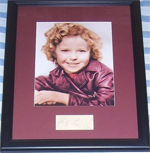 Shirley Temple autograph matted & framed with vintage 8x10 portrait photo