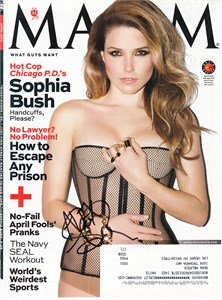 Sophia Bush autographed 2014 Maxim magazine cover (To Alex)