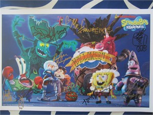 SpongeBob Squarepants cast autographed 2017 Comic-Con poster (Rodger Bumpass Bill Fagerbakke Tom Kenny Carolyn Lawrence)