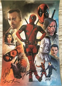 Stan Lee Tim Miller Rob Liefeld autographed Deadpool 2016 Comic-Con movie poster