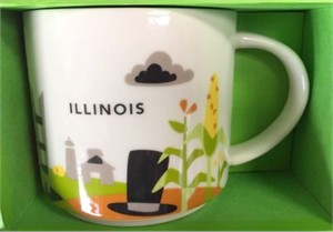 Starbucks 2013 You Are Here Collection Illinois 14 ounce collector coffee mug NEW