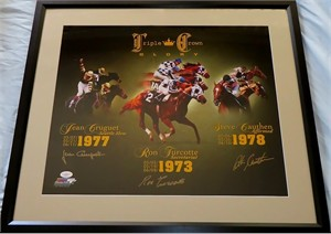 Steve Cauthen Jean Cruguet Ron Turcotte autographed Triple Crown Glory 16x20 poster size photo matted & framed (JSA)