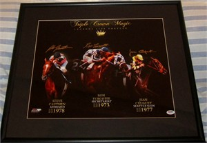 Steve Cauthen Jean Cruguet Ron Turcotte autographed Triple Crown Magic 16x20 poster size photo matted & framed (PSA/DNA)
