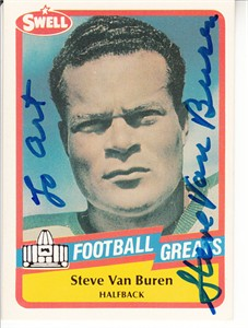 Steve Van Buren autographed 1989 Swell Football Greats Pro Football Hall of Fame card (to Art)