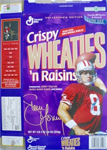 Steve Young autographed San Francisco 49ers Wheaties cereal box