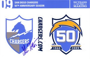 Stan Humphries autographed San Diego Chargers 50th Anniversary sticker sheet
