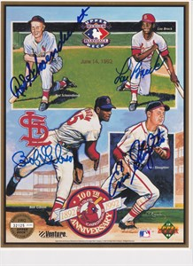 Lou Brock Bob Gibson Red Schoendienst Enos Slaughter autographed St. Louis Cardinals 1992 Upper Deck card sheet