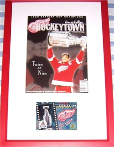 Steve Yzerman autographed Detroit Red Wings 1998 Stanley Cup card framed with magazine cover