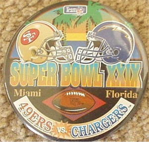 Super Bowl 29 button or pin (49ers 49 Chargers 26)