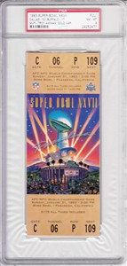 Super Bowl 27 (Cowboys 52, Bills 17) full unused game ticket graded PSA 8 NrMt-Mt