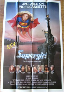 Supergirl original 1984 movie video release full size poster (Helen Slater)