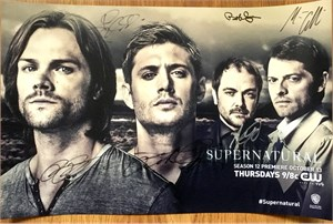 Supernatural cast autographed 2017 Comic-Con exclusive poster (Jensen Ackles Misha Collins Jared Padalecki)