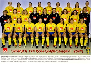 Sweden 2003 Women's World Cup Team photo postcard (Hanna Ljungberg Victoria Svensson)