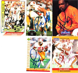 5 Tampa Bay Buccaneers autographed 1990s cards (Paul Gruber Ron Hall)