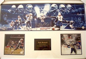 Tedy Bruschi autographed 2003 New England Patriots Snow Game photo collection matted & framed