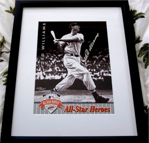 Ted Williams autographed Boston Red Sox 1992 All-Star Heroes Upper Deck photo card matted & framed #169/521 UDA