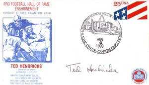 Ted Hendricks autographed Oakland Raiders 1990 Pro Football Hall of Fame Induction cachet