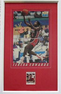Teresa Edwards autographed 1992 US Olympic card & poster matted & framed