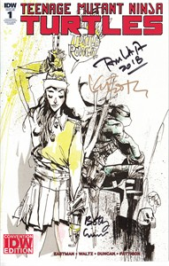 Kevin Eastman Bobby Curnow Tom Waltz autographed Teenage Mutant Ninja Turtles 2018 Comic-Con comic book #1 (Turtle Power variant cover)