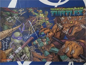 Teenage Mutant Ninja Turtles cast autographed 2015 Comic-Con poster (Sean Astin Greg Cipes Rob Paulsen)