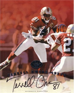 Terrell Owens certified autograph San Francisco 49ers 1997 Leaf 8x10 photo card