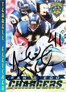Terrell Fletcher autographed 1997 San Diego Chargers Police card