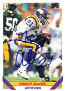 Terry Allen autographed Minnesota Vikings 1993 Topps card